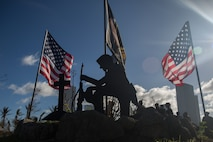A cutout silhouette stands at the Veteran's memorial park during the 31st Marine Expeditionary Unit and Combat Logistics Battalion 31 243 Marine Corps Birthday ceremony on Tinian, Commonwealth of the Northern Mariana Islands, Nov. 10, 2018. All the Marines taking part in the relief efforts here in the wake of Super Typhoon Yutu missed the traditional Marine Corps Birthday Ball in Okinawa, Japan, where both the 31st MEU and CLB-31 are garrisoned – improvising as Marines often do, the Marines and Sailors here pitched-in to coordinate a short ceremony which included a guest speaker, remarks from the commanding officer, a cake-cutting and gourmet dinner of hamburgers, hotdogs and a slice of cake. Marines and Sailors with the 31st MEU and CLB-31 are assisting local and civil authorities on Tinian to deliver aid for families affected by Super Typhoon Yutu, which struck here Oct. 25 as the second strongest storm to ever hit U.S. soil. Marines and Sailors with the 31st MEU and CLB-31 arrived on Tinian Oct. 29-31 to lead relief efforts on Tinian in response to Yutu as part of Task Force-West. TF-W is leading the Department of Defense's efforts to assist CNMI's local and civil authorities provide critical assistance for citizens devastated by Yutu. The 31st MEU, the Marine Corps' only continuously forward-deployed MEU, provides a flexible force ready to perform a wide-range of military operations across the Indo-Pacific region.