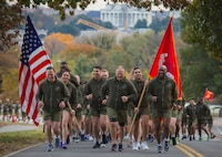 Commandant of the Marine Corps Gen. Robert B. Neller and Sergeant Major of the Marine Corps Sgt. Maj. Ronald L. Green participate in a motivational run at Joint Base Myer-Henderson Hall, Arlington, Va., Nov. 8, 2018. Marines ran in celebration of the Marine Corps 243rd birthday.