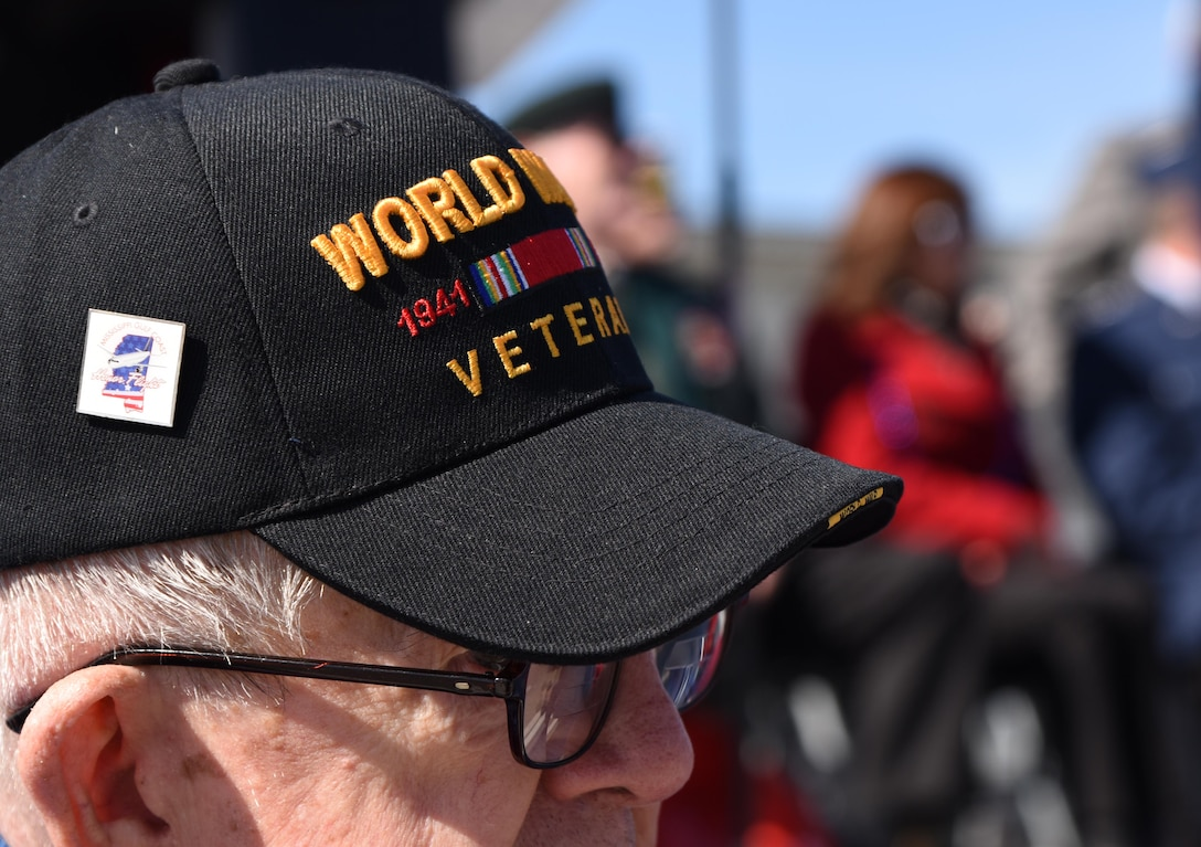 U.S. Army Retired Sgt. 1st Class Harry Rhizor, World War II veteran, attends the 18th Annual Gulf Coast Veterans Day Parade in Gulfport, Mississippi, Nov. 10, 2018. Keesler Air Force Base leadership along with hundreds of Airmen attended and participated in the parade in support of all veterans past and present. More than 70 unique floats, marching bands and military units marched in the largest Veterans Day parade on the Gulf Coast. (U.S. Air Force photo by Kemberly Groue)