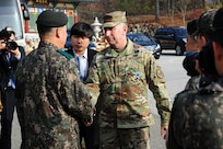 U.S. Army Gen. Robert B. Abrams, (right) United Nations Command (UNC) commander, meets with Republic of Korea (ROK) Army officials before a tour of the Joint Security Area (JSA), Panmunjom, ROK, Nov. 10, 2018. Abrams was given a first-hand look at the changes happening in the JSA and received briefings about day-to-day operations at the facility