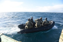 U.S. Air Force pararescue specialists with the 31st Rescue Squadron from Kadena Air Base, Japan, deploy a rescue boat for a combat search and rescue training mission during exercise Keen Sword 19, near Misawa Air Base, Japan, Oct. 19, 2018. Approximately 10,000 U.S. service members participated in KS19 from units including the U.S. Pacific Fleet, U.S. Forces Japan, 7th Fleet, 5th Air Force, 374th Airlift Wing, 18th Wing, 35th Fighter Wing and III Marine Expeditionary Force. Exercises like Keen Sword provide the Japan Self-Defense Force and U.S. military opportunities to train together across a variety of mission areas in realistic scenarios, enhancing readiness and interoperability. (U.S. Air Force photo by Senior Airman Sadie Colbert)