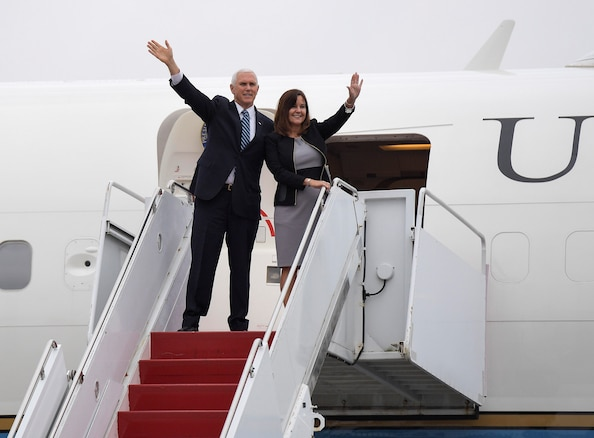 United States Vice President Michael R. Pence and Second Lady Karen Pence wave