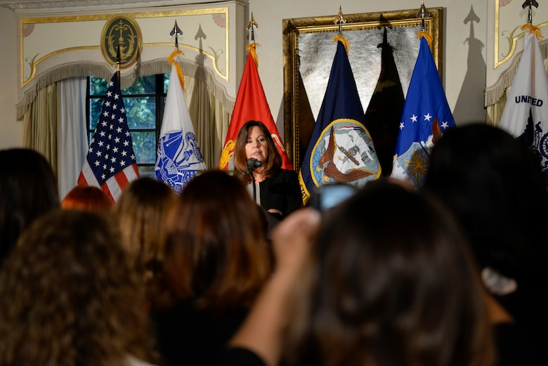 Second lady Karen Pence speaks with military spouses at U.S. Embassy Tokyo, Japan, Nov. 13, 2018.