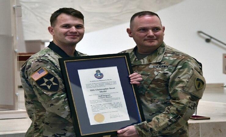 SSG Madasz receives SSG Stout Medal