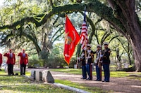Marine Forces Reserve personnel present the colors during a wreath laying ceremony held at the Grace Episcopal Church of West Feliciana in St. Francisville, La., Nov. 10, 2018. Every year, Marines lay a wreath on the gravesite of Gen. Robert H. Barrow, 27th Commandant of the Marine Corps, in honor of his service to the Marine Corps and the country.