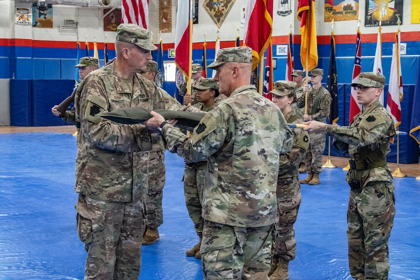 Maj. Gen Andrew Schafer, 28th Infantry Division commanding general, and Command Sgt. Maj. John Jones case the division colors during a transfer of authority ceremony Nov. 12, 2018. Then Pennsylvania Army National Guard unit's headquarters and headquarters battalion passed responsibility for the Task Force Spartan mission to the 34th Infantry Division which is comprised of Soldiers from the Iowa and Minnesota National Guard. The 28th's HHBN served as a division headquarters for roughly 10,000 Soldiers conducting theater security operations in the Middle East.