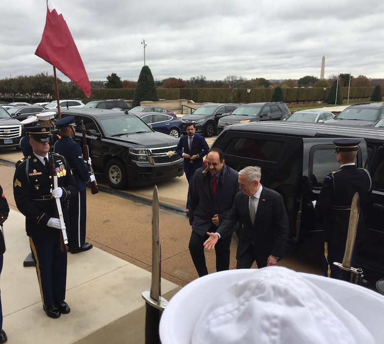 Defense Secretary James N. Mattis greets Qatari Minister of State for Defense Khalid al-Attiyah at the Pentagon in Washington.