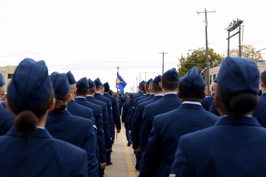 Airmen from the 312th Training Squadron march in the Veterans Day Parade in San Angelo, Texas, Nov. 10, 2018. The parade included the squadrons under the 17th Training Wing. (U.S. Air Force photo by Senior Airman Randall Moose/Released)