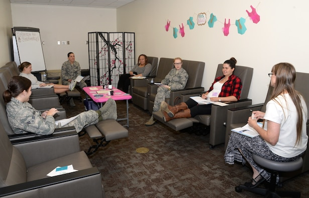 A group of moms discuss issues about their pregnancies during the Nov. 8 Centering for Pregnancy session at Wilford Hall Ambulatory Surgical Center on Joint Base San Antonio-Lackland, Texas. The Centering program provides moms with information and resources designed to help them throughout every stage of their pregnancy. 