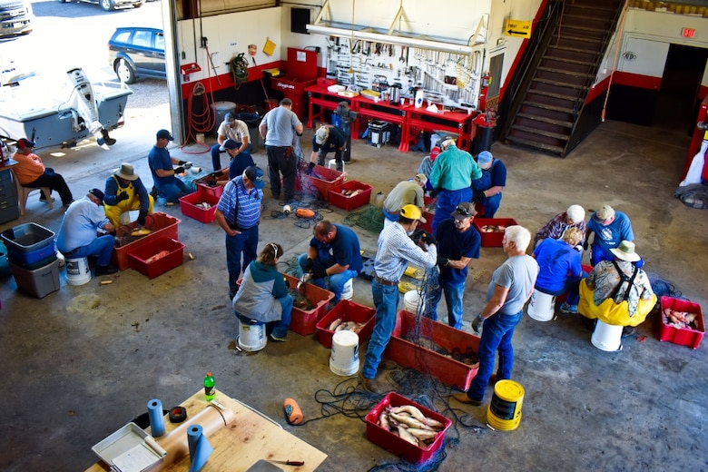 CPW staff, volunteers turn shop at John Martin Reservoir into fish market as they catch, weigh, measure and fillet fish in annual survey