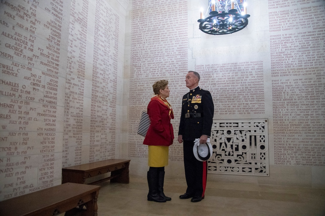 Marine Corps Gen. Joe Dunford and his wife, Ellyn stand in a chapel.