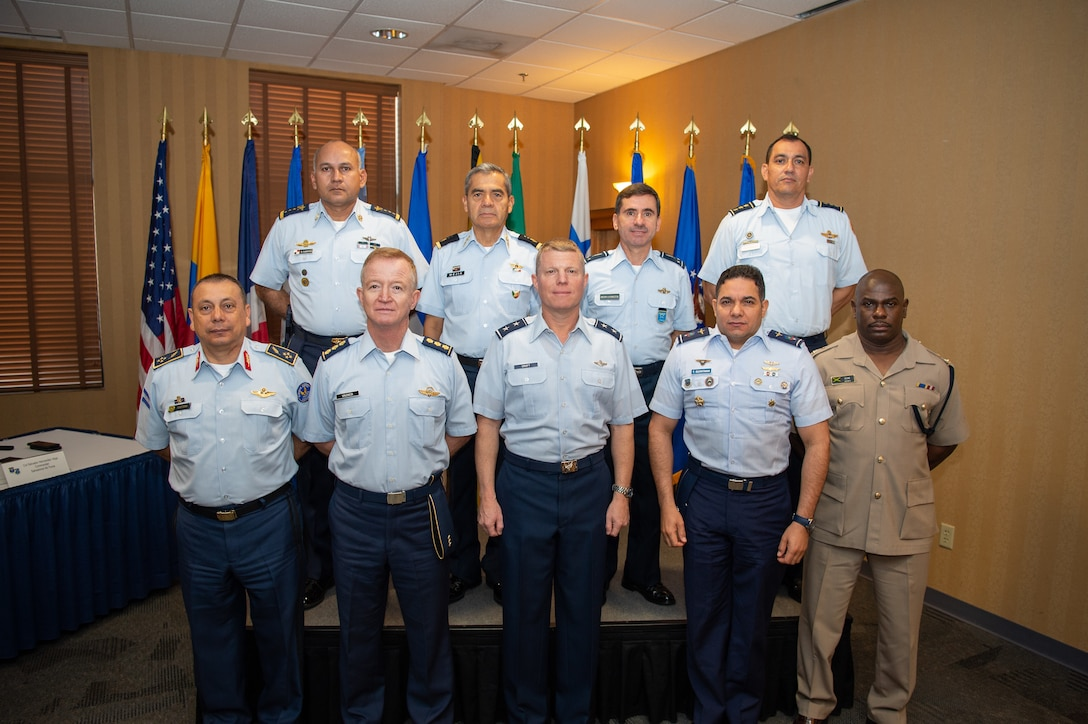 Air chiefs or their representatives pose for a group photo during the Central American and Caribbean Air Chief's conference at Davis-Monthan Air Force Base, Ariz., Nov. 6-8, 2018.