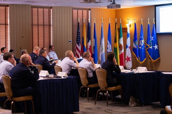 Representatives from eight Latin American air forces listen to a presentation during the Central American and Caribbean Air Chief's conference at Davis-Monthan Air Force Base, Ariz., Nov. 6-8, 2018.