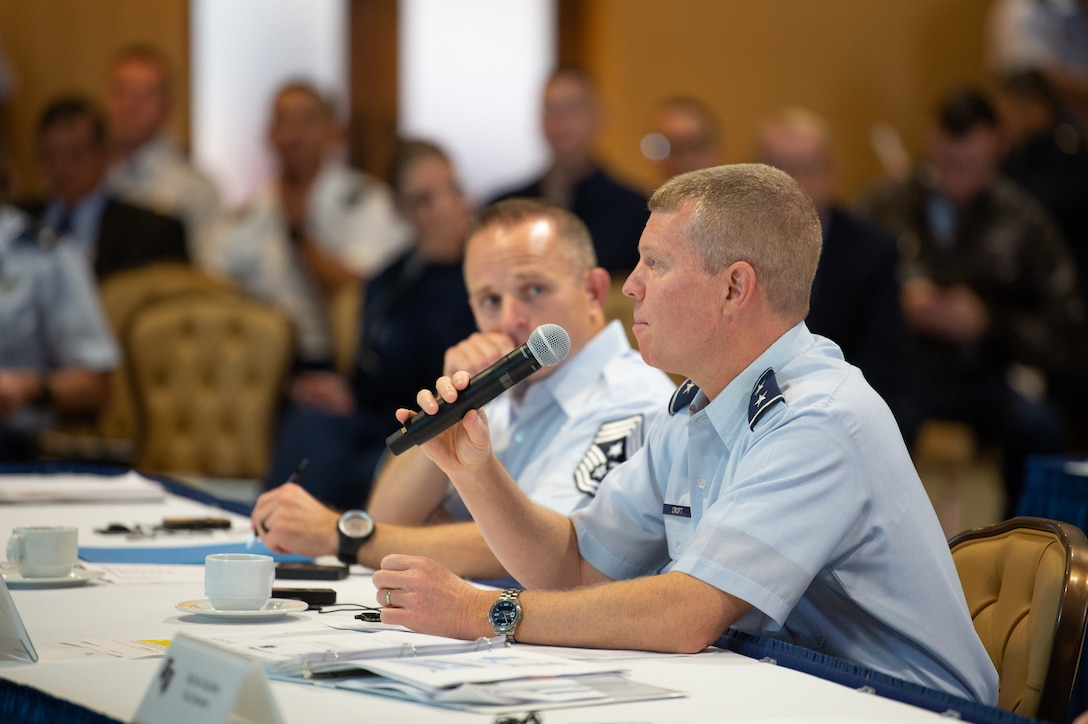 Maj. Gen. Andrew Croft, commander, 12th Air Force (Air Forces Southern), delivers remarks during the Central American and Caribbean Air Chief's conference at Davis-Monthan Air Force Base, Ariz., Nov. 6-8, 2018.