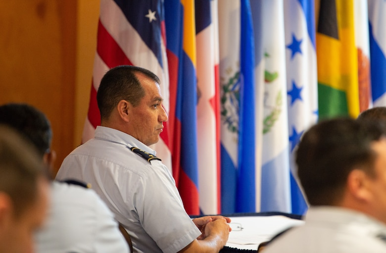 Colonel Salvador Hernández Vega, Salvadoran Air Force Commander, listens to a presentation during the Central American and Caribbean Air Chief's conference at Davis-Monthan Air Force Base, Ariz., Nov. 6-8, 2018.