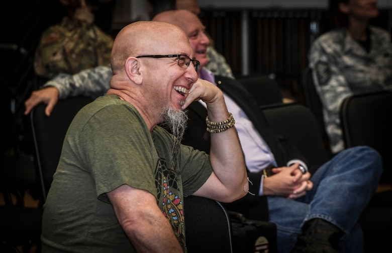 Grammy Award-winning saxophonist Jeff Coffin laughs with Airmen during a visit to the Rhythm in Blue Jazz band at Joint Base Langley-Eustis, Va., Oct. 26, 2018. Coffin is internationally recognized as a member of the Dave Matthews rock band and is also a five-time Grammy Award winning saxophonist, composer and author.  (U.S. Air Force photo by Tech. Sgt. Nick Wilson)