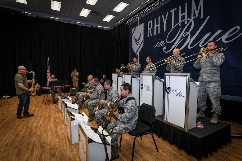 Five-time Grammy Award winner and internationally recognized saxophonist, composer and author Jeff Coffin performs alongside members of the Rhythm in Blue jazz band at Joint Base Langley-Eustis, Virginia, Oct. 26, 2018. Air Force bands serve as a dynamic element to recruit future Airmen to serve in the United States Air Force. In partnership with Air Force Recruiting Service, they perform for events that generate interest and enthusiasm for military service. (U.S. Air Force photo by Tech. Sgt. Nick Wilson)