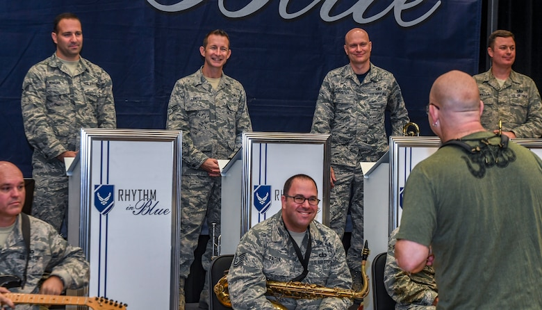 Grammy Award-winning saxophonist Jeff Coffin speaks to Airmen during a visit to the Rhythm in Blue jazz band at Joint Base Langley-Eustis, Virginia, Oct. 26, 2018. The Rhythm in Blue jazz band is one of seven ensembles from Air Combat Command's Heritage of America Band. The band uses their music to tell the Air Force story throughout the Eastern United States, performing for diverse audiences from Maine to South Carolina. (U.S. Air Force photo by Tech. Sgt. Nick Wilson)