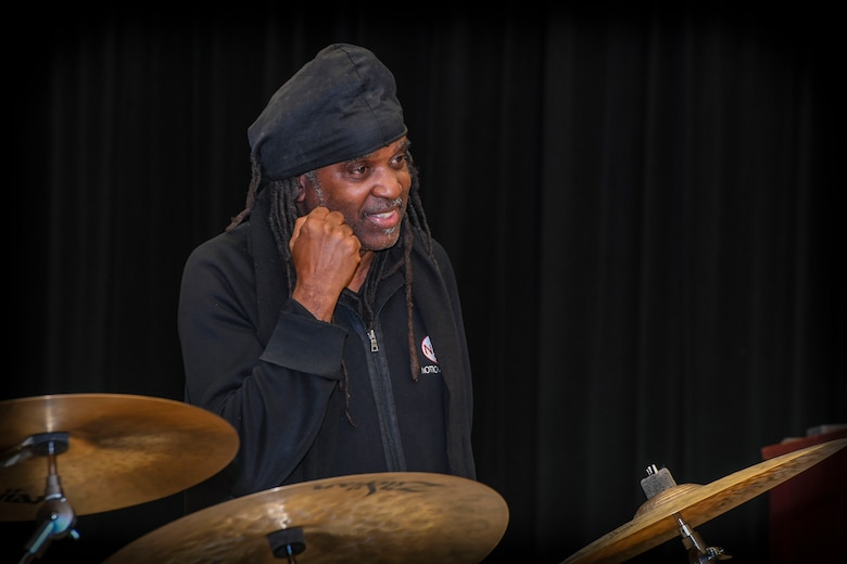 """Musician Roy """"Future Man"""" Wooten speaks during a visit to the Rhythm in Blue Jazz band at Joint Base Langley-Eustis, Virginia, Oct. 26, 2018. Wooten is internationally known as a percussionist for Bela Fleck and the Flecktones. He is also widely known for producing copntent that diversifies musical concepts and genres. (U.S. Air Force photo by Tech. Sgt. Nick Wilson)"""