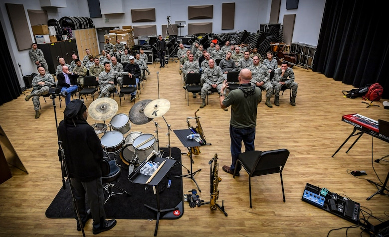 """Five-time Grammy Award winner and internationally recognized saxophonist, composer and author Jeff Coffin performs alongside five-time Grammy Award winner, composer and percussionist Roy """"Future Man"""" Wooten during a visit to the Rhythm in Blue jazz band at Joint Base Langley-Eustis, Virginia, Oct. 26, 2018. The Air Force has 17 bands that each operate within their own geographic area of responsibility. They have a mission to represent America's Airmen to a global audience, and to tell the Air Force story by performing and engaging diverse audiences, political figures and decision makers around the globe. (U.S. Air Force photo by Tech. Sgt. Nick Wilson)"""
