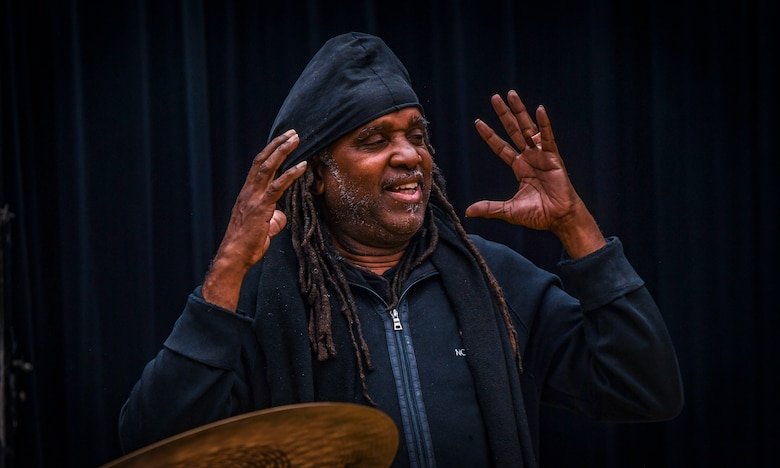 """Five-time Grammy Award winner, composer, and percussionist Roy """"Future Man"""" Wooten speaks during a visit to the Rhythm in Blue jazz band at Joint Base Langley-Eustis, Virginia, Oct. 26, 2018. Wooten lived and played music with his four brothers in the Hampton and Newport News area before his father, who is also a Korean War veteran, retired from the Air Force.  (U.S. Air Force photo by Tech. Sgt. Nick Wilson)"""