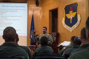 U.S. Air Force Chief Master Sgt. Randy Scanlan, Air Force Personnel Center Career Enlisted Aviators assignment branch chief, explains the process of how CEA Airmen acquire assignments and receive new ones,