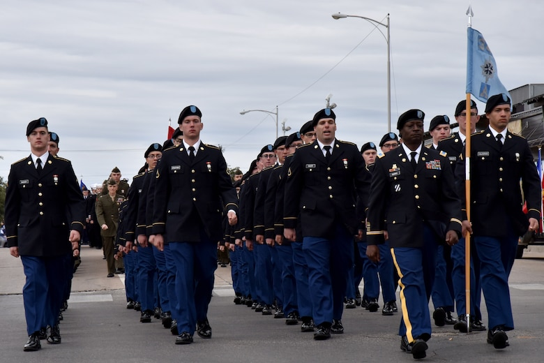Army Soldiers from Goodfellow Air Force Base march in the Veterans Day Parade in San Angelo, Texas, Nov. 10, 2018. The parade featured veterans, active duty members and other organizations. (U.S. Air Force photo by 2nd Lt. Matthew Stott/Released)