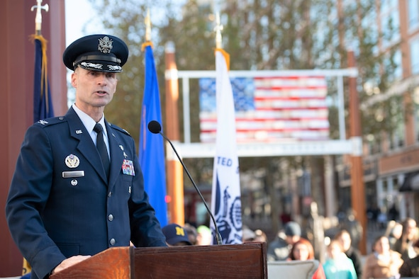 Col West speaks at National Harbor for Veterans Day event.