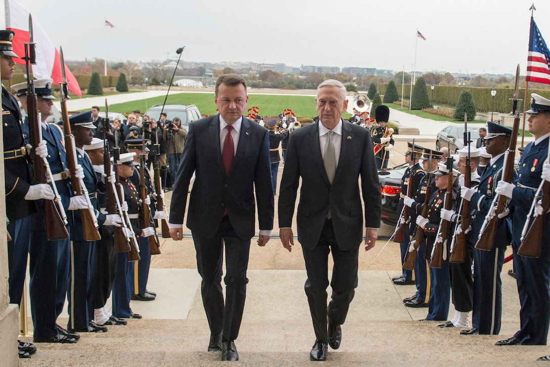 Defense Secretary James N. Mattis and his Polish counterpart walk past honor guard troops on steps leading into the Pentagon.