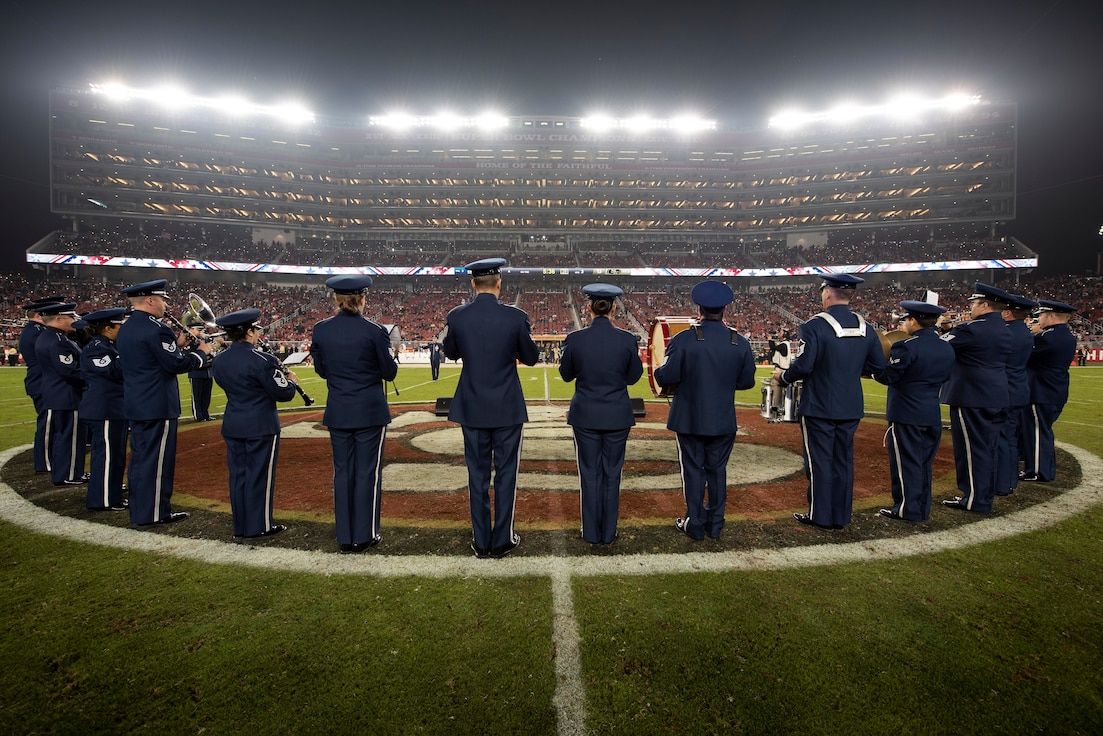 Band of the Golden West plays in the San Francisco 49ers halftime show