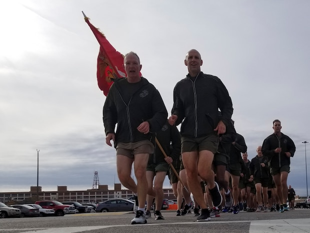 Lt. Gen. Mark A. Brilakis, commanding general of U.S. Marine Corps Forces Command, left, and Col Thomas H. Campbell III, commanding officer of Headquarters and Service Battalion, MARFORCOM, lead the MARFORCOM 243rd Marine Corps birthday run Nov. 8, 2018, at Naval Station Norfolk, Norfolk, Virginia. The run was held in celebration of the 243rd Marine Corps birthday and to commemorate the 100 year anniversary of the end of World War I. (U.S. Marine Corps photo by Sgt. Jessika Braden/Released)