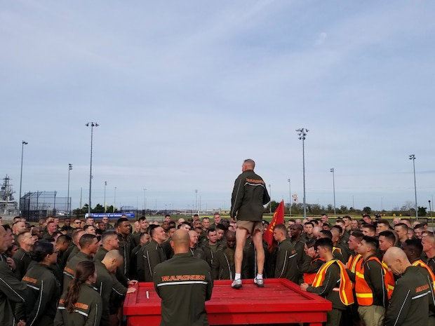 Lt. Gen. Mark A. Brilakis, commanding general of US. Marine Corps Forces Command, speaks to Marines and Sailors at the conclusion of the MARFORCOM 243rd Marine Corps birthday run Nov. 8, 2018, at Naval Station Norfolk, Norfolk, Virginia. The run was held in celebration of the 243rd Marine Corps birthday and to commemorate the 100 year anniversary of the end of World War I.  (U.S. Marine Corps photo by Sgt. Jessika Braden/Released)