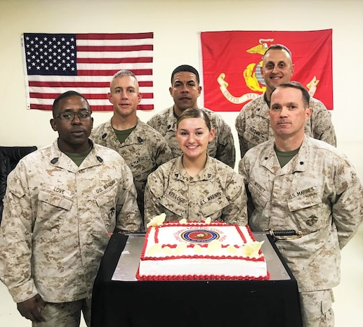 Forward deployed Marines gathered for a photo following a cake cutting ceremony celebrating the 243rd birthday of the U.S. Marine Corps, Nov. 10, 2018. The Marines are assigned to Forward Operating Base Erbil in support of Combined Joint Task Force – Operation Inherent Resolve.