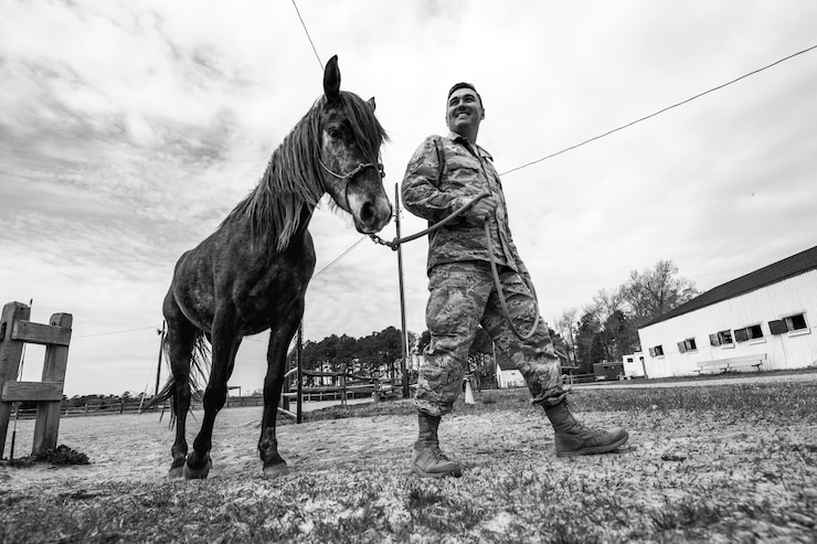 U.S. Air Force Staff Sgt. Cody Wisley, 83rd Network Operations Squadron boundary protection supervisor, guides his horse, Steel, at Joint Base Langley-Eustis, Virginia, April 12, 2018