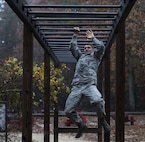 U.S. Air Force Staff Sgt. Morgan D. McDaniel, 514th Security Forces Squadron Phoenix Raven, completes an obstacle course during the 2018 Service Member of the Year Competition on Joint Base McGuire-Dix-Lakehurst, New Jersey, Nov. 6, 2018. With four services and eight competitors, the three day competition tested the knowledge, endurance and skills of the individuals with multiple challenges throughout each day. (U.S. Air Force photo by Airman 1st Class Ariel Owings)