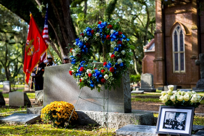 A wreath is placed on the gravesite of Gen. Robert H. Barrow, 27th Commandant of the Marine Corps, during a ceremony held at the Grace Episcopal Church of West Feliciana in St. Francisville, La., Nov. 10, 2018.