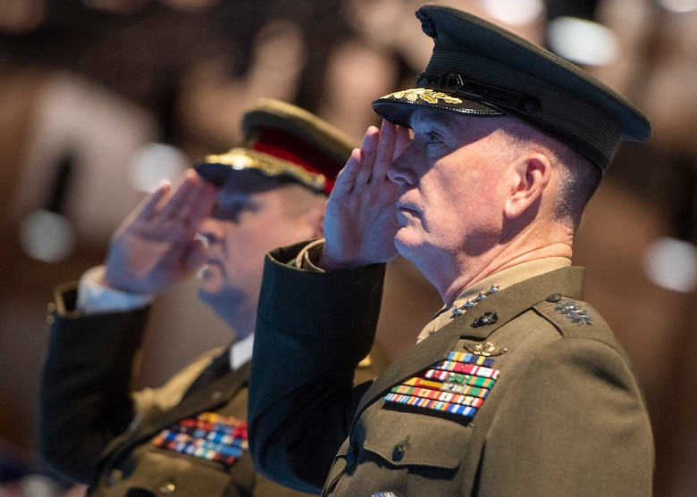 Marine Corps Gen. Joe Dunford, chairman of the Joint Chiefs of Staff, hosted an Armed Forces Full Honor Arrival ceremony for Estonian Gen. Riho Terras , commander of the Estonian Defense Forces, at Joint Base Myer-Henderson Hall, Nov. 13, 2018. During the ceremony, Gen. Dunford presented Gen. Terras with the Legion of Merit for his outstanding leadership, personal initiative and dedicated support to the United States - Estonia military alliance. Gen. Terras efforts resulted in a significant expansion of cooperative operations and training between the Estonian Defense Force and the United States military, leading to improved security and stability in the European Theater.