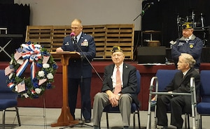 Col. Jay Smeltzer, commander of the 445th Maintenance Group, shares stories about his father in the Vietnam War and his own experiences during Desert Storm, 9/11 and Operation Enduring Freedom and Operation Iraqi Freedom during the City of Fairborn's Veterans Day Ceremony held at the Fairborn United Methodist Church November 10, 2018.