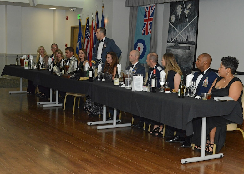 Base leadership joined leaders of the Royal Air Force at the head table at the Battle of Britain Night at Club Muroc Nov. 9. Patrons were treated to dinner and beverages to commemorate the World War II battle, which lasted July 10 to October 31, 1940. (U.S. Air Force photo by Kenji Thuloweit)