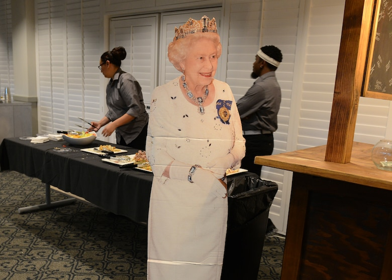 Edwards Air Force Base's Battle of Britain celebration was attended by Quenn Elizabeth II herself. To be more accurate, a figure of her likeness was in attendence to help bring the feeling of Britain home to Edwards Nov. 9 at Club Muroc. (U.S. Air Force photo by Kenji Thuloweit)