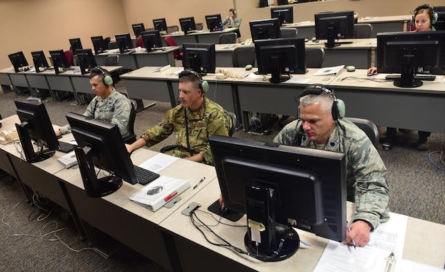 Air battle managers from the 337th Air Control Squadron take part in a command and control exercise involving real-world assets, November 9th, 2018, at Tyndall Air Force Base, Fla. The exercise was the first set of operations held at the 337th ACS since Hurricane Michael made landfall earlier last month. (U.S. Air Force photo by Senior Airman Cody R. Miller)