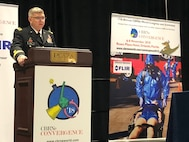 """Army Maj. Gen. William """"Bill"""" Hall, commander, Joint Task Force Civil Support (JTF-CS), speaks to representatives from over 30 countries at the 11th Annual CBRNe World Convergence in Orlando, Fla., on Nov. 7, 2018. The convergence gave JTF-CS an opportunity to connect and share information with other chemical, biological, radiological and nuclear (CBRN) response leaders, as well as local first responders. It also allowed the command to see and test some of the newest anti-CBRN technology available.  When directed, JTF-CS is ready to respond in 24 hours to provide command and control of 5,200 federal military forces located at more than 36 locations throughout the nation in support of civil authority response operations to save lives, prevent further injury and provide critical support to enable community recovery. (Official DoD photo by Navy Lt. Cmdr. Jessica Caldwell/released)"""
