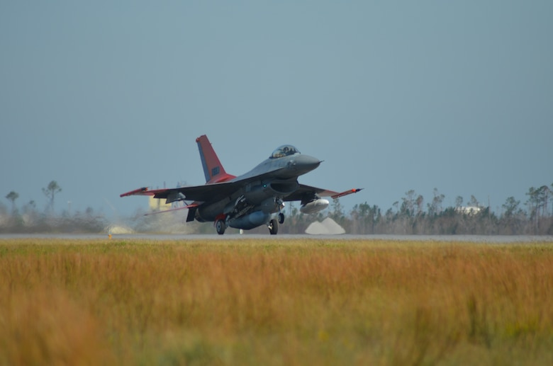 Photo of Boeing delivering a QF-16 to Tyndall AFB Oct. 24.