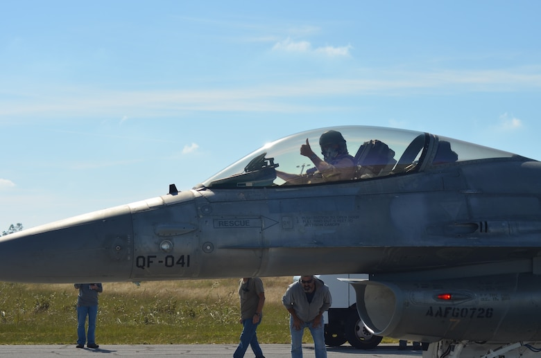 Photo of a QF-16 after the Boeing test pilot landed at Tyndall Air Force Base