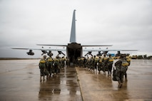 Spanish soldiers standby to board a KC-130T during Death From Above in Torrejon, Spain, Oct. 30, 2018.