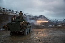 U.S. Marines with Marine Rotational Force-Europe 19.1 (MRF-E) fire rounds from a Light Armored Vehicle during Exercise Northern Screen at Setermoen, Norway, Nov. 5, 2018.