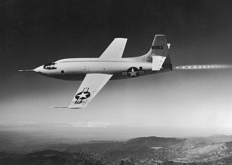 The rocket-powered Bell X-1 experimental aircraft. Pilots who flew the X-1 experienced weightlessness for a few seconds when they completed a climb. (NASA photo)