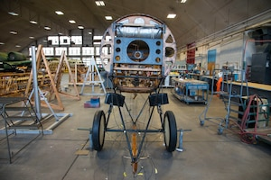 DAYTON, Ohio - The Avro 504K undergoing restoration on Nov. 14, 2018 at the National Museum of the U.S. Air Force. The aircraft was originally built in 1966 by the Royal Canadian Air Force's Aircraft Maintenance & Development Unit.(U.S. Air Force photo by Ken LaRock)