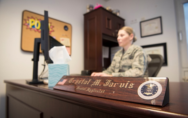 U.S. Air Force Chief Master Sgt. Shelly Jarvis, 86th Airlift Wing Dental Squadron superintendent and dental hygienist, works at her desk Nov. 7, 2018, Ramstein Air Base, Germany. As a dental hygienist, Jarvis can give patients deep cleanings, anesthetic, as well as chart and monitor patients with ailments such as gum disease. It was previously thought impossible for a dental hygienist to achieve the rank of chief master sergeant.