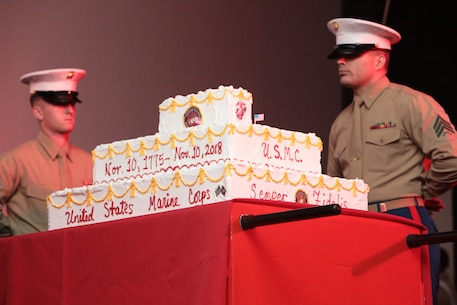 Marine Corps Logistics Base Albany held the traditional cake-cutting ceremony, and uniform pageant to celebrate the 243rd Birthday of the Marine Corps, November 8. Marines showcased and highlighted those who have gone before, as well as the past and present uniforms of those who fought, and are currently fighting, in defense of our nation around the world. (U.S. Marine Corps photo by Re-Essa Buckels)
